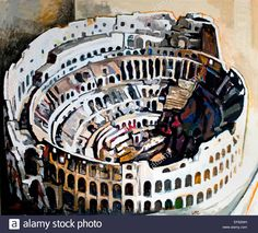 Il Colosseo - The Colosseum 1972 Renato Guttuso 1912-1987  Italy Rome Roman ( Vatican Collection of Modern Religious Art Rome Italy ) Seen at Quirinale in October 2016