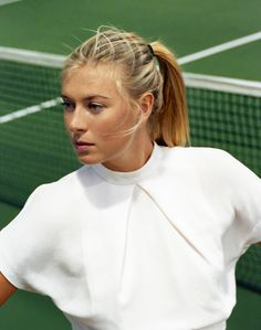 """Featured in Spring/Summer 2012 of Gentlewoman Magazine, Maria Sharapova is the 'The Competitor' as the tennis star is shot by Zoe Ghertner in vision of white on the court and stands at the Manhattan Country Club, Manhattan Beach, California. Tennis Stars, Laetitia Casta, Claudia Schiffer, Gwyneth Paltrow, Alessandra Ambrosio, Zoe Ghertner, Scarlett Johansson, Tennis Whites, Football"