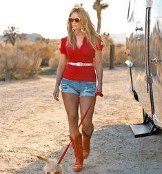 "Miranda Lambert struts her stuff on the set of the ""Little Red Wagon"" music video."