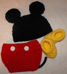 Mickey Mouse Inspired Newborn Crochet Hat, Diaper Cover, and Bootie Set. $25.00, via Etsy.