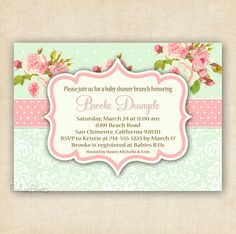 Shabby chic girl baby shower invitation