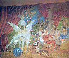 PICASSO, Pablo. Detalhe da cortina de cena para o balé Parada [Parade] (Paris, 1917). Erik Satie compôs a música para o balé Parada [Parade], manifesto tri-dimensional Cubista de Jean Cocteau e Pablo Picasso, apresentado com coreografia de Léonid Massine nos palcos parisienses pelos Ballets Russes (Paris, 1917).