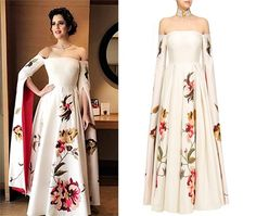 Isha Rikhi in Samant Chauhan's Off White Open Sleeves Off Shoulder Gown Indian Evening Gown, Indian Gowns, Indian Attire, Anarkali Dress, Lehenga, Indian Formal Wear, Off Shoulder Gown, India Fashion Week, Vestidos