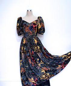 Exotic Flowers Botanical Print Dress - Vintage Dress Gown - Prom Dress - Maxi Dress - Dresses UK