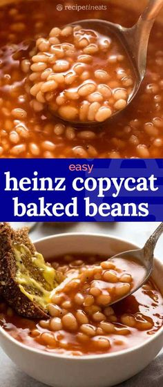 This baked beans recipe is a Heinz baked beans copycat. It's so similar, it's almost scary - but so much tastier! Quick, easy and completely addictive. British Baked Beans Recipe, Baked Beans Recipe Easy Quick, Baked Bean Recipes, Canned Baked Beans, Heinz Baked Beans, Homemade Baked Beans, Recipes With Heinz Beans, Homemade Spices, Vegetarian Bean Recipes