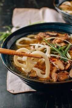 #Udon #Noodle #Soup with #Chicken & #Mushrooms recipe by the Woks of Life Classic Asian flavors like soy sauce, shiitake mushrooms, mirin, and scallions, blend together in a savory broth. Check out the full recipe to see how to make this comforting dish for fall.