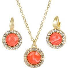 Heirloom Finds Classic Petite Faux Coral Cabochon and Crystal Necklace and Earring Set: Jewelry: Amazon.com