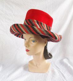 Designer Wide Brim by MyVintageHatShop Vintage Hats, Vintage Ladies, Orange Hats, I See Red, John Junior, Red Felt, Hats For Women, Jr, Vintage Fashion