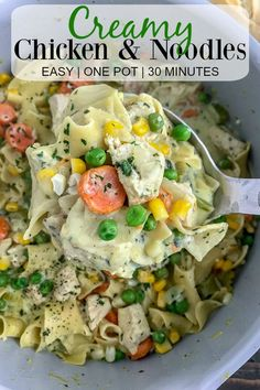 Easy One Pot Creamy Chicken and Noodles - the perfect classic comfort dish that contains delicious, creamy pasta, and is packed not just full of flavor, but vegetables as well! Guaranteed to be a family favorite! Pasta Recipes, Chicken Recipes, Dinner Recipes, Cooking Recipes, Healthy Recipes, Top Recipes, Skinny Recipes, Family Recipes, Healthy Meals
