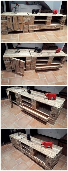 Here comes the pallet media table option for you that is beautifully created with the wood pallet use all around it. Bring it closer with the catchier effects through the shading of the brown shading of paint hues that will make it appear so much fantastic looking.