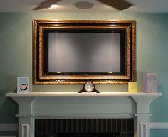 gold framed tv above fireplace Above Fireplace Ideas, Tv Over Fireplace, Fireplace Mantels, Fireplaces, Mantle, Tv Enmarcada, Frame Around Tv, Modern Tv Wall, Framed Tv