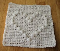 Puff Stitch Heart Afghan Square Crochet Pattern - Free Crochet Pattern Courtesy of Crochetnmore.com, (or dishcloth???)