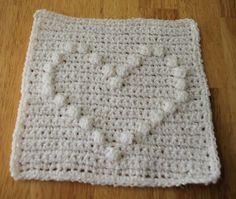 Puff Stitch Heart Afghan Square Crochet Pattern - Free Crochet Pattern Courtesy of Crochetnmore.com