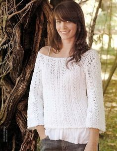 Suéter fantasía escote bote o barco. Tejido a punto o dos agujas. Pullover Sweaters, Sweater Cardigan, Knit Jacket, Knitting Designs, Lace, Casual, Womens Fashion, Pattern, How To Wear