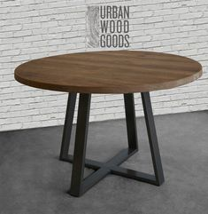 Round Dining Table, Cafe Table, Round Wood Table in reclaimed wood and steel legs in your choice of size and finish Round Farmhouse Table, Round Wood Table, Metal Dining Table, Dining Room Table, Steel Table, Metal Chairs, Pedestal Table Base, Round Dining Table Modern, Nook Table