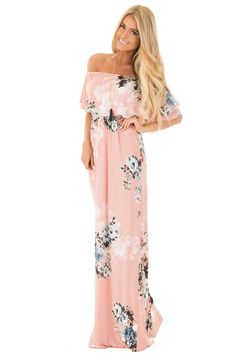 Lime Lush Boutique - Blush Floral Print Off the Shoulder Bust Overlay Maxi Dress, $48.99 (https://www.limelush.com/blush-floral-print-off-the-shoulder-bust-overlay-maxi-dress/)