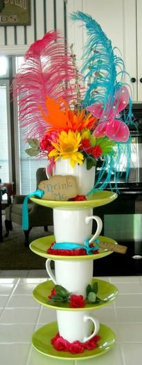 center piece mad hatter tea party