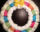 Custom Personalized SHABBY CHIC Theme Diaper Wreath Baby Shower Gift Decoration Girl Any Initial Lace Pink Vintage Floral. $40.00, via Etsy.