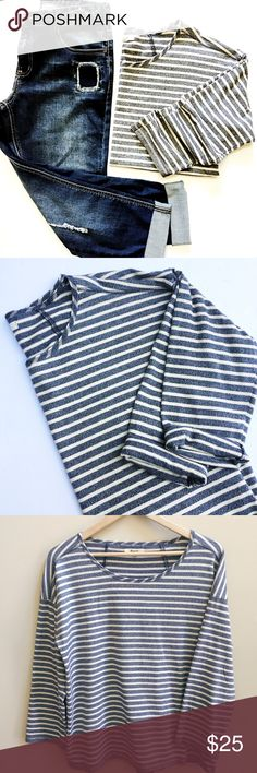 Madewell 3/4 length sleeve tee shirt 100% cotton tee, bluish gray striped, excellent used condition, thick soft fabric, bust 22 inches length 24 inches Madewell Tops Tees - Long Sleeve