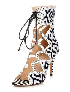 Roman Black Terry Stiletto Heel Fashion Gladiator Sandals - Milanoo.com