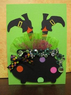 Funky Witch for Halloween card Casa Halloween, Theme Halloween, Halloween Crafts For Kids, Halloween Activities, Holidays Halloween, Holiday Crafts, Halloween Decorations, Handmade Halloween Cards, Whimsical Halloween
