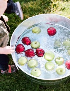 Fall Harvest Party ideas! Bobbing for apples is such a fun activity  it's not as easy as it looks! We don't trick -r-treat because we like to go to the church or have a harvest party out in the garage or our back yard if the weather is nice. We always bob for apples, have a cake walk  lots of other games - it's so much fun!!!