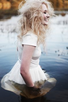 I love the white dress with the water and blonde hair