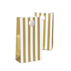 12 Party/Wedding Favor Bags - Paper Treat Bags - Candy Buffet Bags - Gold Crush