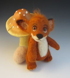 Little Foxy Found An Egg -  Needle Felted Fox Caricature