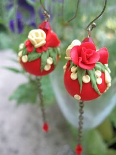 earrings in clay .Oh so beautiful!
