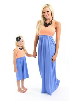 Mommy and Me Dresses! I love the periwinkle and peach combo!