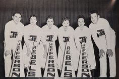 "1957 cheerleaders in the yearbook ""The Document"" at Thomas Jefferson High School in Dallas, Texas..."