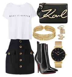 """""""131."""" by plaraa on Polyvore featuring Karl Lagerfeld, Dsquared2, CLUSE, MANGO, Christian Louboutin, Chanel and Topshop"""