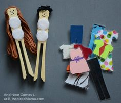 Do your kids like to play dress-up?  Do they have any dress-up doll sets?  Why not make them one!  Simple DIY Toys - Fun Dress Up Peg Dolls at B-Inspired Mama