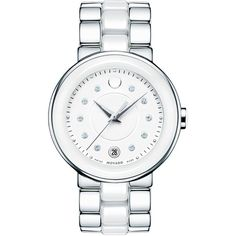 Movado Ladies'  Ceramic Diamond Watch ($1,495) ❤ liked on Polyvore featuring jewelry, watches, white, white jewelry, movado watches, polka dot watches, diamond watches and diamond jewelry