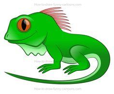 How to draw a cartoon iguana