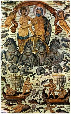 Roman mosaic depicting the Triumph of Amphitrite & Neptune (Poseidon), detail of a vast mosaic from Cirta, Roman Africa (ca. 315–325 AD -- The Louvre, Paris.