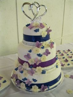 butterflies and hearts wedding cake