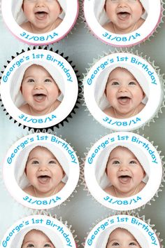 Personalised #photo 1st birthday cup cake toppers edible #decoration #cupcake 108,  View more on the LINK: 	http://www.zeppy.io/product/gb/2/321381570678/