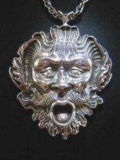 Ancient Face-Mask Sterling Silver Pendant by RenaissanceFair