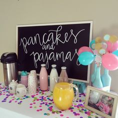 Pancakes and Pajamas birthday party decoration ideas. Food table. Pancake cake. Brunch 6th Birthday Parties, Birthday Party Decorations, Birthday Party Tables, 11th Birthday, Kids Birthday Party Ideas, First Birthday Brunch, Happy Birthday, Pancake Cake, Pancake Party