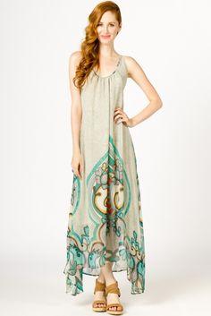 Silk Paisley Maxi Dress