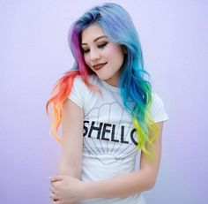 Long Rainbow hair with Shello T-Shirt by Hieucow