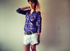 TARTAN, denim, shorts, wedge, sneakers, isabel marant MORE ON: http://www.misslittletouch.com/2013/12/05/tartan-style/