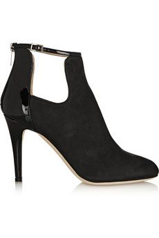 Jimmy Choo Livid nubuck and patent-leather ankle boots | NET-A-PORTER