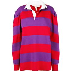 Marc Jacobs long-sleeve rugby sweatshirt (11.455.405 VND) ❤ liked on Polyvore featuring tops, hoodies, sweatshirts, red, purple shirt, purple long sleeve shirt, oversized sweatshirt, striped shirt and collared shirt