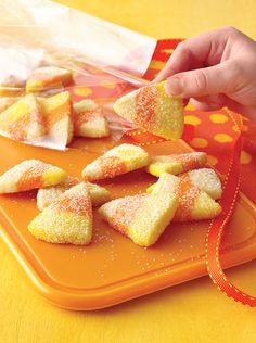 These Sparkling Candy Corn Cookies have a hint of orange flavor.