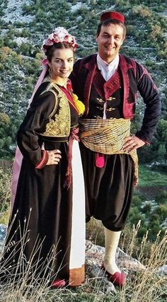 Traditional festive costumes from Dubrovnik/Ragusa (Croatia).  Clothing style: early 20th century.