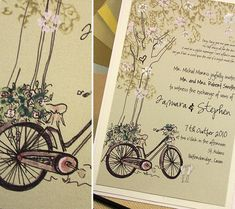 Bicycle Wedding Invitation, Brown and Ivory Wedding, Tree Wedding Invitations Wedding Art, Ivory Wedding, Wedding Bells, Our Wedding, Dream Wedding, Wedding Things, Wedding Ideas, Tree Wedding Invitations, Wedding Stationary