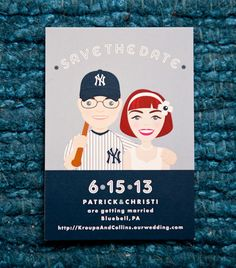 I'm a Phillies fan all the way, but these cards are adorable!~!! A New York Yankees themed Save the Date featuring unique custom illustrations of the couple. Photograph by BG Productions.